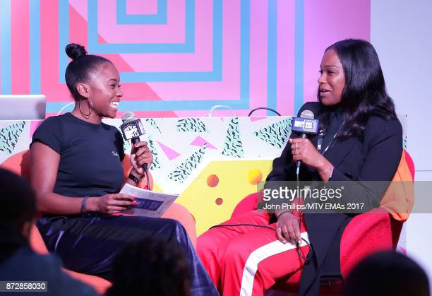 Tinea Taylor interviews Sharmadean Reid Founder of WAH Nails during the MTV EMAs 2017 Breaks Sessions on November 11 2017 in London England