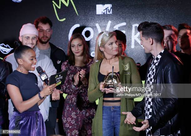 Tinea Taylor presents Mike Tompkins and Andie Case with their Cover of The Year Award during the MTV EMAs 2017 Breaks Sessions on November 11 2017 in...