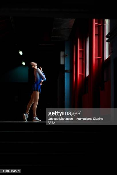 Ting Cui of the United States poses for a photo ahead of the Gala Exhibition during day 5 of the ISU World Junior Figure Skating Championships Zagreb...