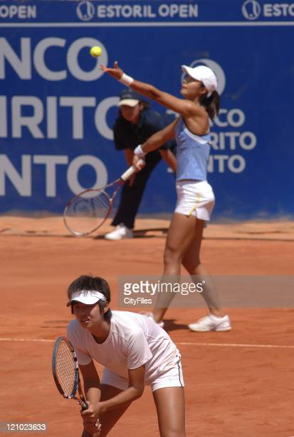 Ting Li and Tiantian Sun during their match against Gisela Dulko and Maria Sanchez Lorenzo in the finals of the Estoril Open at Estadio Nacional in...