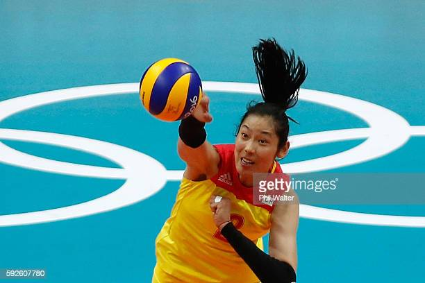 Ting Zhu of China hits the ball during the Women's Gold Medal Match against Serbia on Day 15 of the Rio 2016 Olympic Games at the Maracanazinho on...