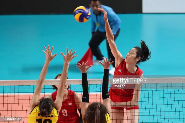 Ting Zhu of China in action during the Asian Games 2018 Volleyball Women's Group B between China and Vietnam on day one of the Asian Games on August...