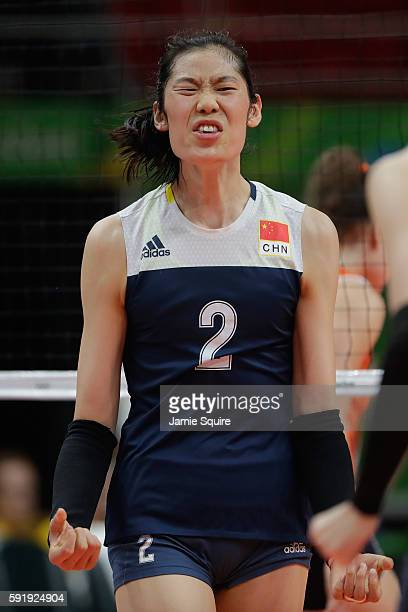 Ting Zhu of China reacts during the Women's Volleyball Semifinal match at the Maracanazinho on Day 13 of the 2016 Rio Olympic Games on August 18 2016...