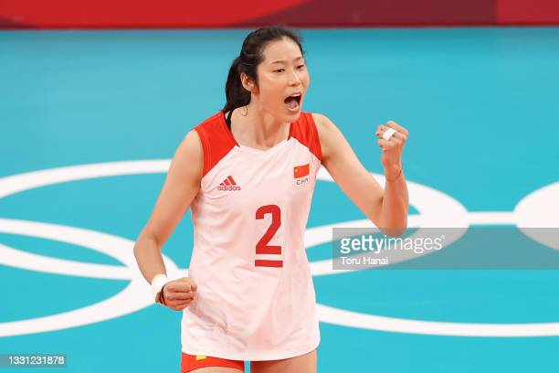 Ting Zhu of Team China celebrates against Team ROC during the Women's Preliminary - Pool B volleyball on day six of the Tokyo 2020 Olympic Games at...