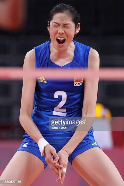 Ting Zhu of Team China reacts against Team United States during the Women's Preliminary - Pool B volleyball on day four of the Tokyo 2020 Olympic...