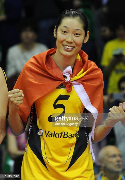 Ting Zhu of VakifBank Istanbul celebrates their first place during the Volleyball European Champions League Women Final Four Match for 1st and 2nd...