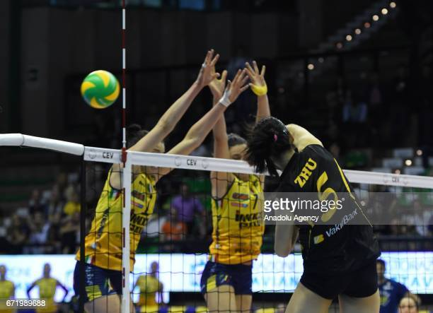 Ting Zhu of VakifBank Istanbul in action during the Volleyball European Champions League Women Final Four Match for 1st and 2nd place between Imoco...