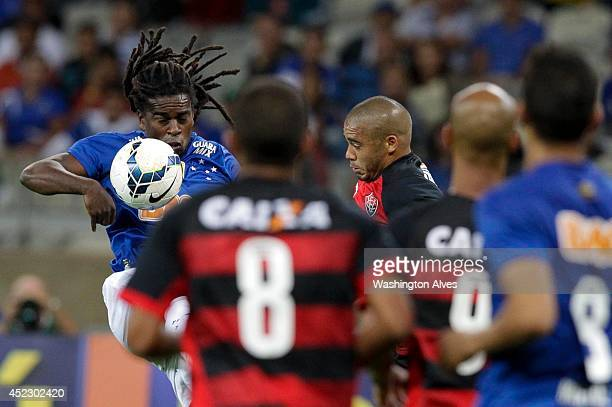 Tinga of Cruzeiro in action during a match between Cruzeiro and Vitoria as part of Brasileirao Series A 2014 at Mineirao Stadium on July 17 2014 in...