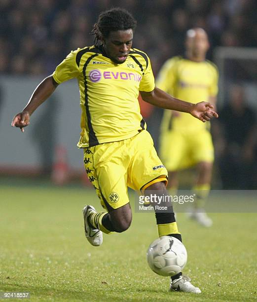 Tinga of Dortmund runs with the ball during the DFB Cup third round match between VfL Osnabrueck and Borussia Dortmund at Osnatel Arena on October 27...
