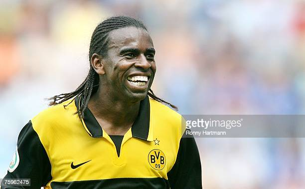 Tinga of Dortmund smiles during the DFB German Cup between 1 FC Magdeburg and Borussia Dortmund at the Stadion Magdeburg on August 4 2007 in...