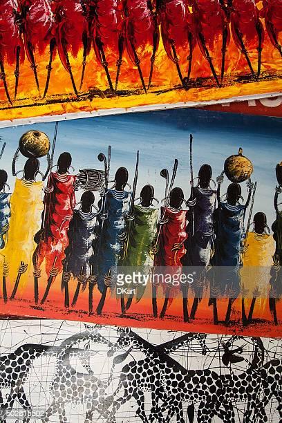 tinga tinga paintings in tanzania - painting art product stock pictures, royalty-free photos & images