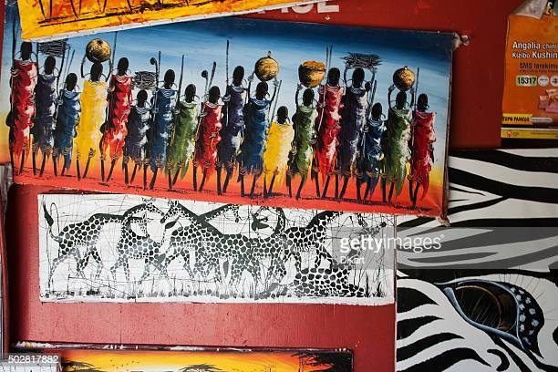 tinga tinga paintings in tanzania - painting art product stock pictures, royalty-free photos & images
