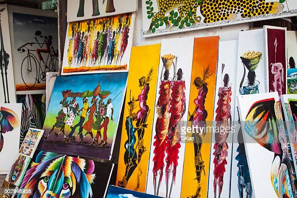 tingatinga paintings in tanzania - painting art product stock pictures, royalty-free photos & images