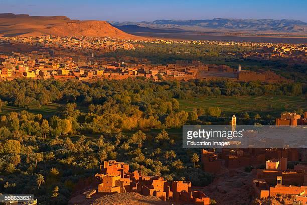 Tinghir Tinghi Sunset Todra valley Todra Gorges Oasis landscape Old Kasbah Morocco North Africa