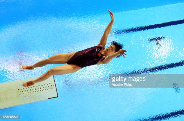 Tingmao Shi of China competes in the Women's 3m Semifinal B during the 2017 FINA Diving World Series at the Windsor International Aquatic and...