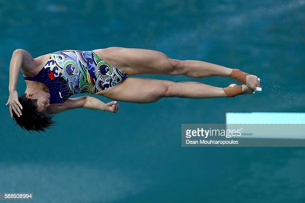 Tingmao Shi of China competes in the Women's Diving 3m Springboard Preliminary Round on Day 7 of the Rio 2016 Olympic Games at Maria Lenk Aquatics...