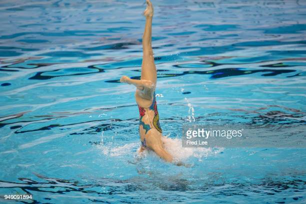 Tingting Jiang and Wenwen Jiang of of China compete during the Synchronized Swimming Duet Free final of Fina Artistic Swimming World Series 2018 on...