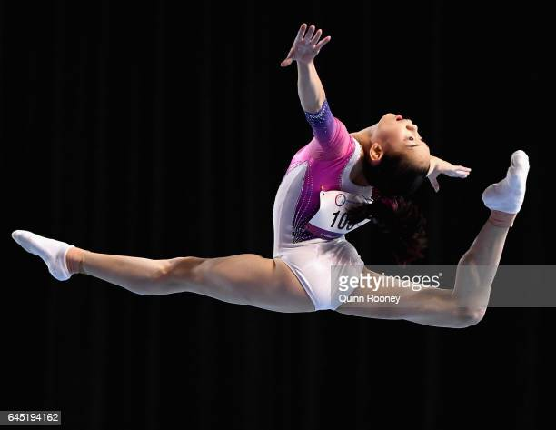 Tingting Liu of China performs on the Floor during the World Cup Gymnastics at Hisense Arena on February 25, 2017 in Melbourne, Australia.