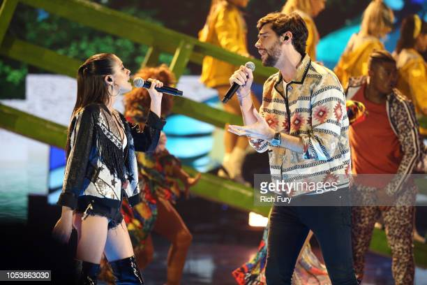 Tini Stoessel and Alvaro Soler perform onstage during the 2018 Latin American Music Awards at Dolby Theatre on October 25 2018 in Hollywood California