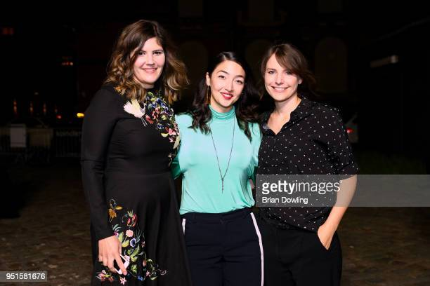 Tini Tuellmann Mia Spengler and Helena Hufnagel arrive at the New Faces Award Film at Spindler Klatt on April 26 2018 in Berlin Germany