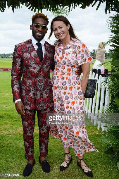 Tinie Tempah and Caroline Rush attend the Cartier Queen's Cup Polo Final at Guards Polo Club on June 17 2018 in Egham England