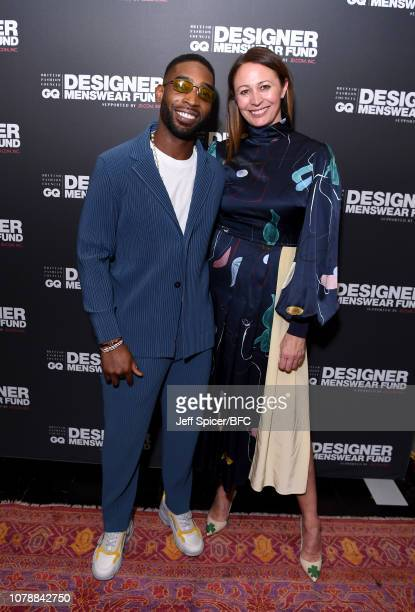 Tinie Tempah and Caroline Rush attend the GQ Drinks during London Fashion Week Men's January 2019 at Annabel's on January 7, 2019 in London, Englan