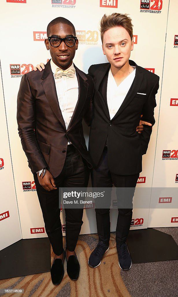 Tinie Tempah and Conor Maynard attend the EMI & War Child Brits Aftershow Party at 02 Arena on February 20, 2013 in London, England.