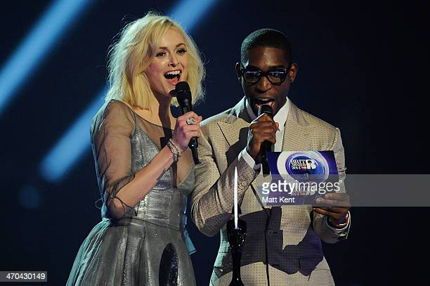 Tinie Tempah and Fearne Cotton present the award for British Breakthrough Act at The BRIT Awards 2014 at 02 Arena on February 19 2014 in London...