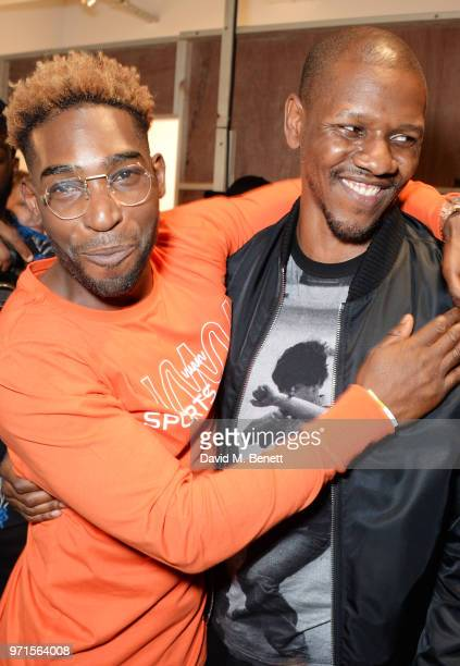Tinie Tempah and Giggs attend the What We Wear show during London Fashion Week Men's June 2018 at the BFC Show Space on June 11 2018 in London England