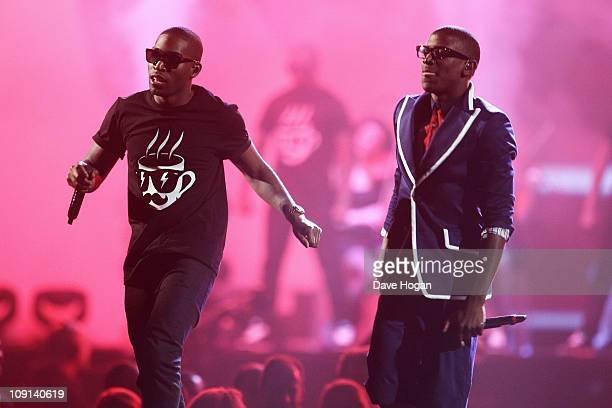 Tinie Tempah and Labyrinth onstage at The Brit Awards 2011 held at The O2 Arena on February 15, 2011 in London, England.