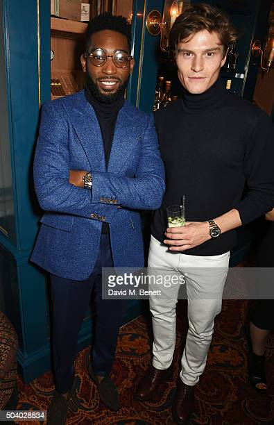Tinie Tempah and Oliver Cheshire attend a cocktail reception hosted by the Woolmark Company Pierre Lagrange and the Savile Row Bespoke Association to...