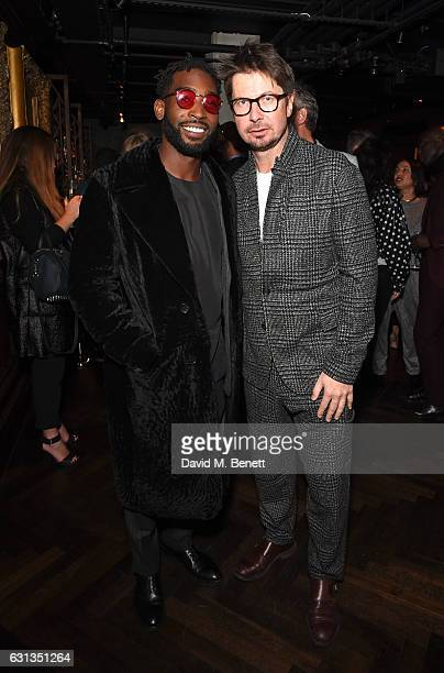 Tinie Tempah and Oliver Spencer attend the London Fashion Week Men's closing night dinner hosted by Dylan Jones Jefferson Hack and the LFWM...