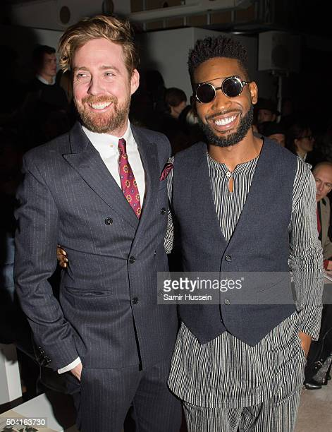 Tinie Tempah and Ricky Wilson attend the Oliver Spencer show during The London Collections Men AW16 on January 9 2016 in London England