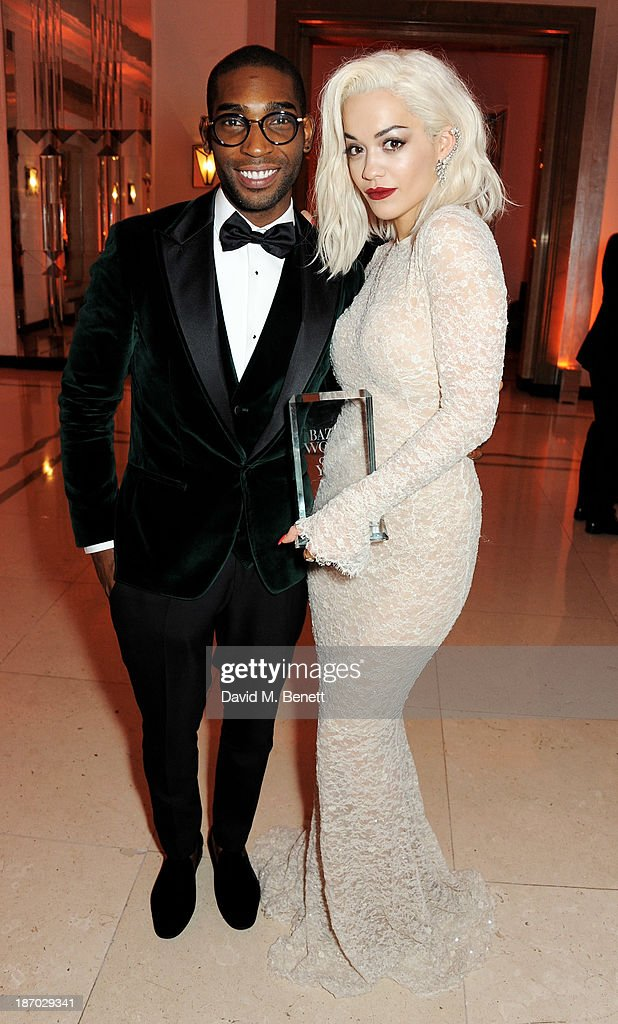 Tinie Tempah (L) and Rita Ora attend the Harper's Bazaar Women of the Year awards at Claridge's Hotel on November 5, 2013 in London, England.