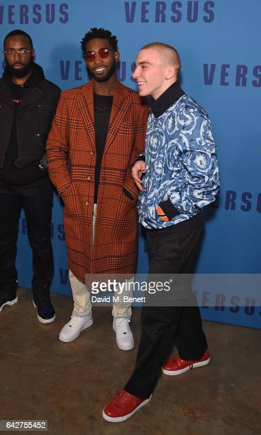 Tinie Tempah and Rocco Ritchie attend the VERSUS show during the London Fashion Week February 2017 collections on February 18 2017 in London England