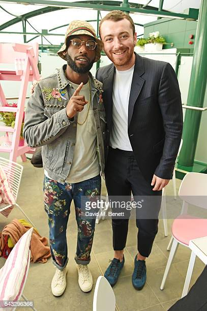 Tinie Tempah and Sam Smith attend the evian Live Young suite during Wimbledon 2016 at the All England Tennis and Croquet Club on June 27, 2016 in...