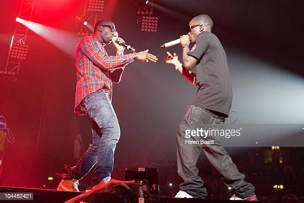 Tinie Tempah and Tinchie Stryder perform on stage during the BBC Radio 1Xtra Live event at Wembley Arena on September 25, 2010 in London, England.