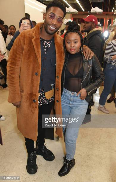 Tinie Tempah and Tinea Taylor attend the What We Wear x Axel Arigato pop up shop launch party on February 28 2018 in London England