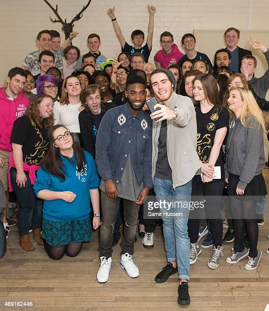 Tinie Tempah and YouTuber Alfie Deyes pose with NCS young people in the ultimate selfie as Tinie is revealed as the new ambassador for NCS on April...