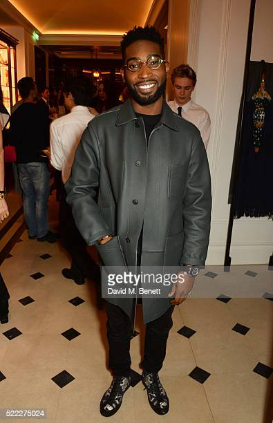 Tinie Tempah attends an event hosted by Naomi Campbell Burberry and TASCHEN to celebrate the launch of 'Naomi' at Burberry's at Thomas's on April 18...