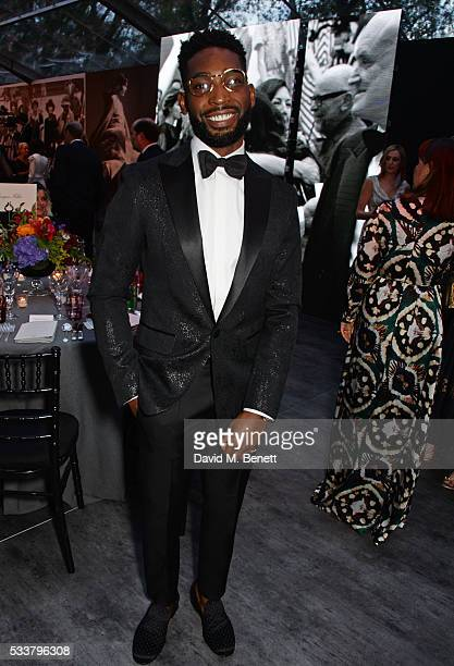 Tinie Tempah attends British Vogue's Centenary gala dinner at Kensington Gardens on May 23 2016 in London England