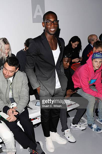 Tinie Tempah attends the Astrid Andersen show during The London Collections Men Autumn/Winter 2014 on January 6 2014 in London England