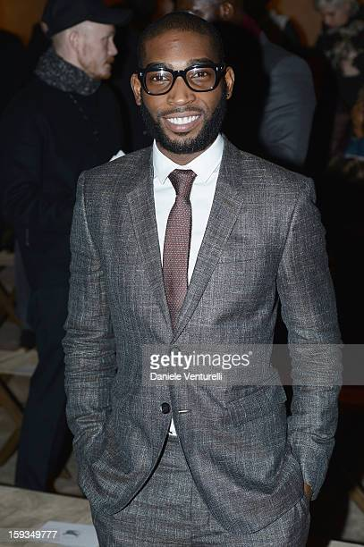 Tinie Tempah attends the Burberry Prorsum show as part of Milan Fashion Week Menswear Autumn/Winter 2013 on January 12 2013 in Milan Italy