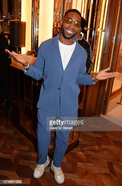 Tinie Tempah attends the GQ dinner hosted by Dylan Jones and David Beckham to celebrate London Fashion Week Men's January 2019 at Brasserie Of Light...