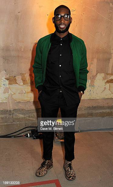 Tinie Tempah attends the Jonathan Saunders Fantastic Man and Selfridges London Collections MEN AW13 dinner at The Old Selfridges Hotel on January 8...