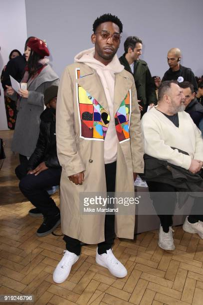 Tinie Tempah attends the JW Anderson show during London Fashion Week February 2018 at on February 17, 2018 in London, England.