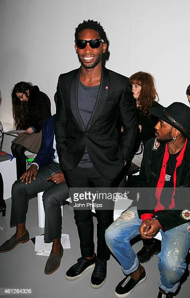 Tinie Tempah attends the Lou Dalton show at the London Collections Men AW15 at on January 10 2015 in London England