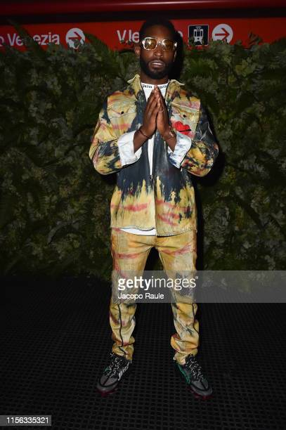 Tinie Tempah attends the Palm Angels fashion show during the Milan Men's Fashion Week Spring/Summer 2020 on June 16, 2019 in Milan, Italy.