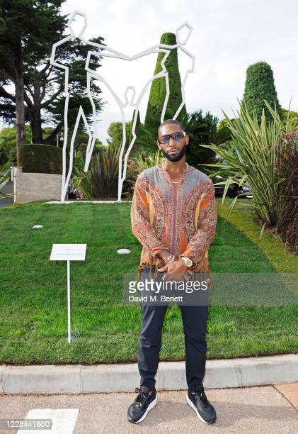 Tinie Tempah attends the private view of REBIRTH by Sassan Behnam-Bakhtiar at the Grand Hotel du Cap Ferrat on September 10, 2020 in...