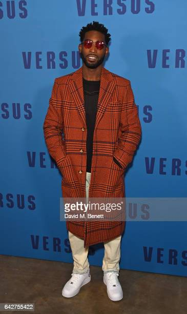 Tinie Tempah attends the VERSUS show during the London Fashion Week February 2017 collections on February 18 2017 in London England